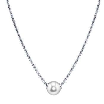 """Sterling Silver 9 --10 mm Freshwater Movable Pearl Necklace, 18"""" Chain"""