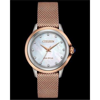 Stainless Steel Rose Tone Eco-Drive Watch w/ Genuine Diamonds