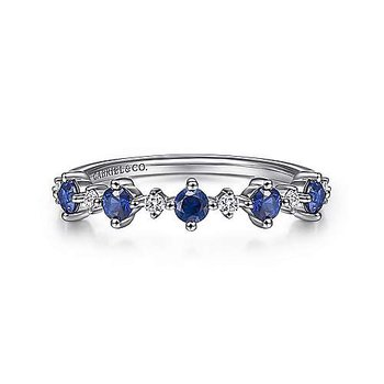 14KW Blue Sapphire & Diamond Fashion Ladies Ring w/ 0.08 ctw