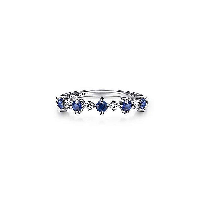 Gabriel & Co. 14KW Blue Sapphire & Diamond Fashion Ladies Ring w/ 0.08 ctw