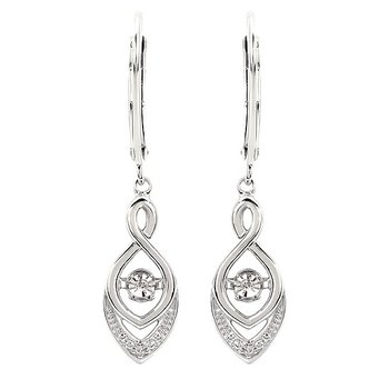 Sterling Silver Shimmering Diamond Dangle Earrings w/ 0.02 ctw