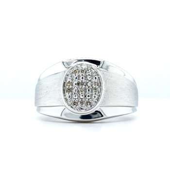 Sterling Silver Diamond Nugget Ring w/ 0.05 ctw