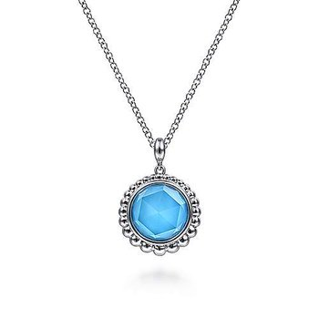 """Sterling Silver Rock Crystal and Turquoise Pendant Necklace 17.5"""""""