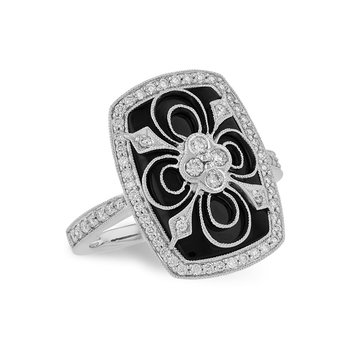 14KW Onyx And Diamond Ring w/ 0.44 ctw, Size 7
