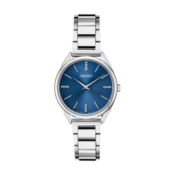 Stainless Steel Analog Quartz Watch w/ Blue Face