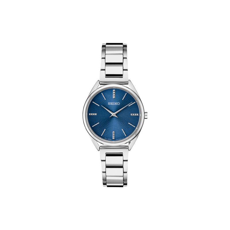 Seiko Watches In Stock Stainless Steel Analog Quartz Watch w/ Blue Face