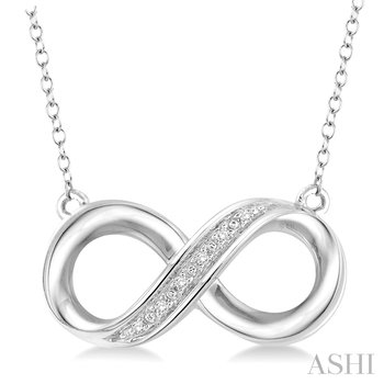 """Sterling Silver Diamond Infinity Pendant On 18"""" Chain w/ 0.03 Dia ctw"""