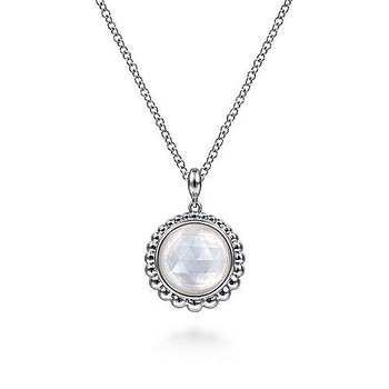 """Sterling Silver Rock Crystal and Mother of Pearl Pendant Necklace 17.5"""""""