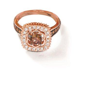 14KRG Diamond Ring w/ 1.0 ctw, Size 7