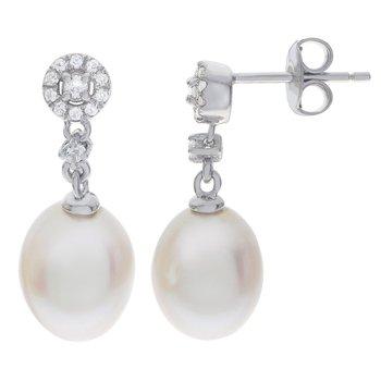 Sterling Silver Fresh Water Pearl & White Topaz Earrings w/ 8.5 -- 9 mm