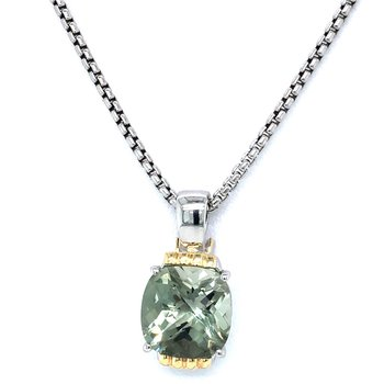 Sterling Silver & 18KY Green Amethyst Pendant w/ Chain