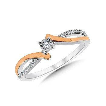 Sterling Silver & 14KR Diamond Ring w/ 0.10 ctw Size 7