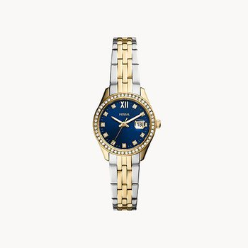 Two-Tone Small Round Watch with Blue face