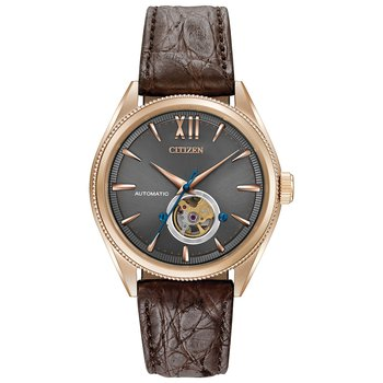 Stainless Steel Rose Tone Signature Watch w/ Brown Leather Straps