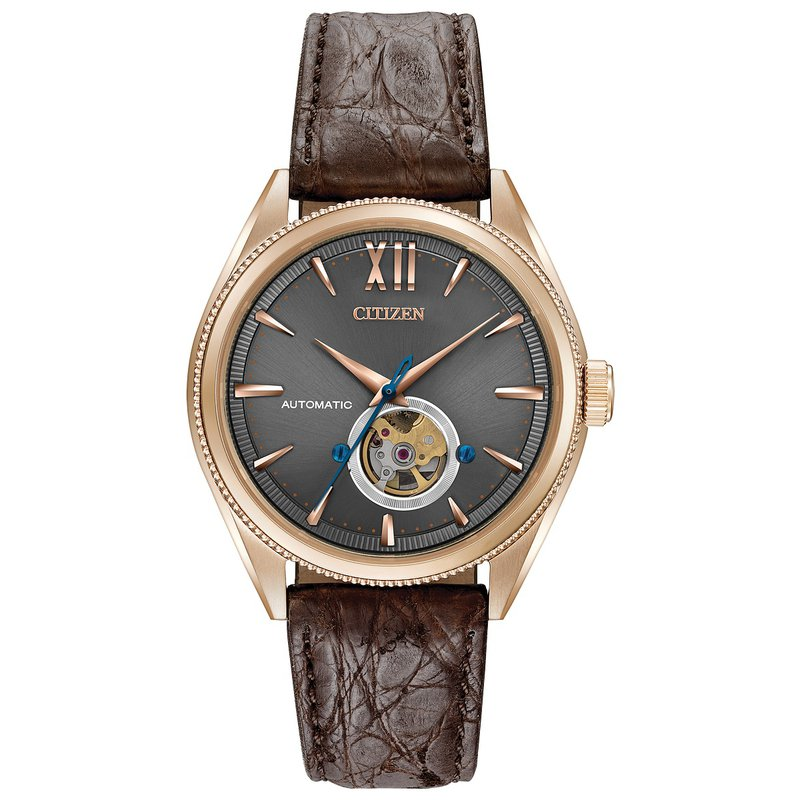 Citizen Watches in Stock Stainless Steel Rose Tone Signature Watch w/ Brown Leather Straps