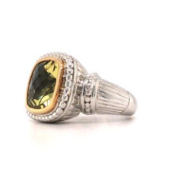 Sterling Silver Lemon Quartz Fashion Ring w/ 14KY Accents, Size 7