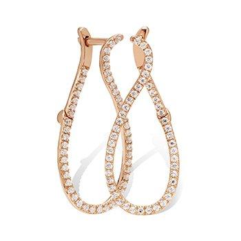 10KR Diamond Sideways Hinged Hoop Earrings w/ 0.25 ctw