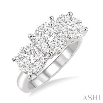 "14KW Diamond ""Lovebright"" Three Stone Cluster Round Cut Engagement Ring w/ 1.50 ctw, Size 7"