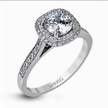 18KW Diamond Engagement Semi-Mount Ring w/ 0.30 ctw, Size 6.5