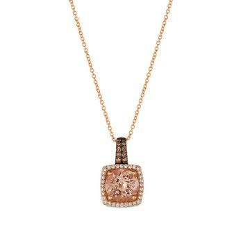 14KRG Peach Morganite & Diamond Pendant w/ 1.95 ctw of Morganite & 0.26 ctw of Diamonds