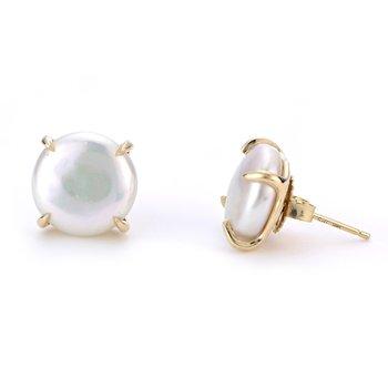 14KY Fresh Water Coin Earrings w/ 11 -- 12 mm Pearls