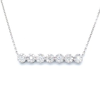 """14KW Lovebright Bar Necklace w/ 0.50 ctw, 17"""" Chain"""
