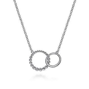 """Sterling Silver Bujukan Beaded Double Circle Necklace 17.5"""""""