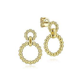 14KY Graduating Bujukan Ball Circle Stud Earrings