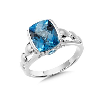 Sterling Silver London Blue Topaz Ring Size 7