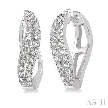 10KW Diamond Curved Leaf Hoop Earrings w/ 0.25 CTW