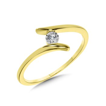 10KY Diamond Solitaire Split Shank Ring w/ 0.04 ctw