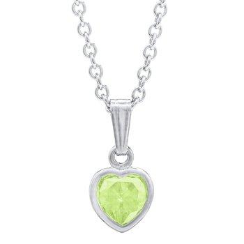 Sterling Silver August CZ Birthstone Heart Pendant w/ Chain