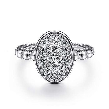 Sterling Silver Beaded Oval Ring with White Sapphires Pave
