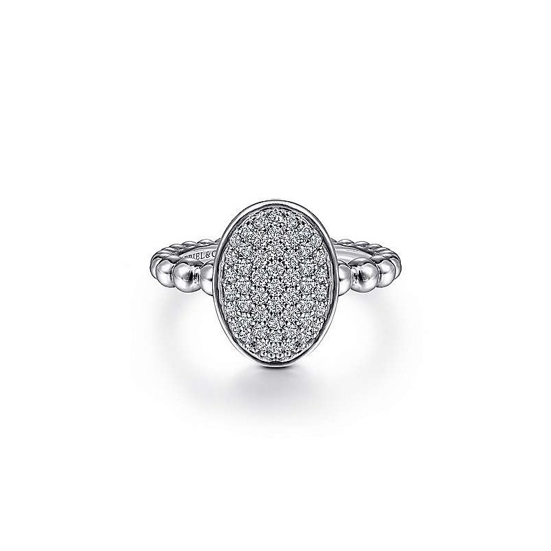 Gabriel & Co. Sterling Silver Beaded Oval Ring with White Sapphires Pave