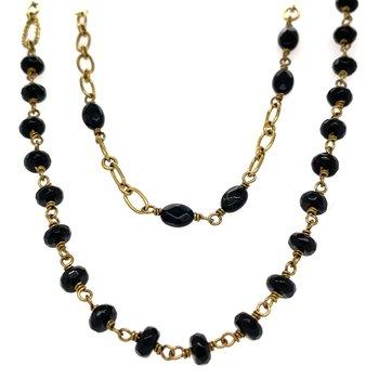 "Brass & Black Onyx 32"" Verdi Chain"