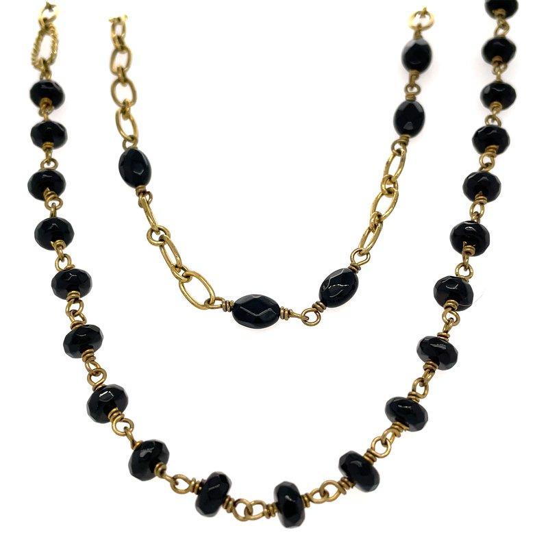 "Waxing Poetic Brass & Black Onyx 32"" Verdi Chain"