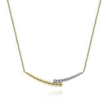 14K Two Tone Gold Fashion Diamond Necklace