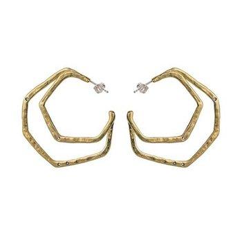 Sterling Silver & Brass Honey Love Double Hoop Earrings w/ Swarovski Crystals