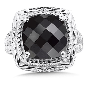 Sterling Silver Onyx Ring, Size 7