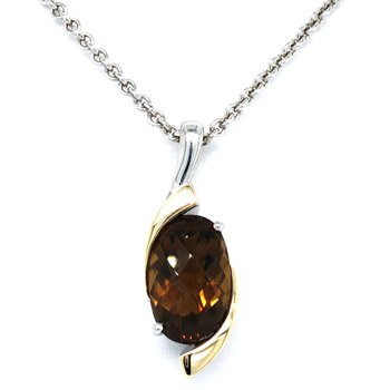 Sterling Silver Two-Tone Honey Citrine Pendant and Chain