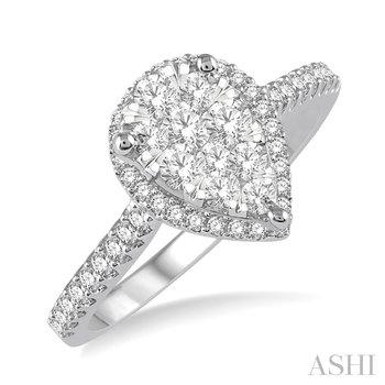 "14KW Pear Shape ""Lovebright"" Diamond Ring w/ 0.50ctw, Size 6.75"