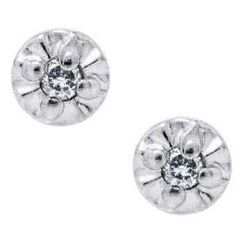 14KW Genuine Diamond Stud Earrings