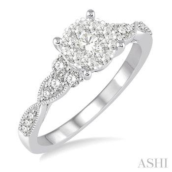 "14KW Diamond ""Lovebright"" Engagement Ring w/ 0.55 CTW Size 6.75"