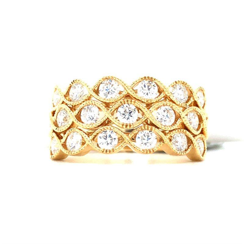 Gabriel & Co. 14KY Twisted Braided Diamond Wide Band Size 6.5