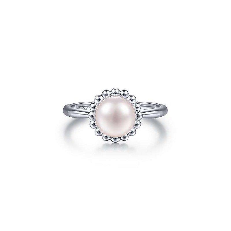 Gabriel & Co. Sterling Silver Bujukan Frame Pearl Ring
