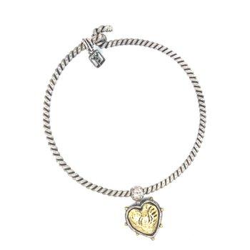 Sterling Silver & Brass Blessings Bangle Bracelet