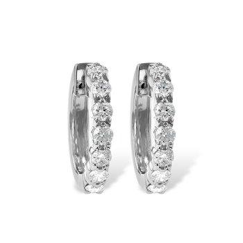 14KW Small Diamond Hoop Earrings w/ 1.00 ctw