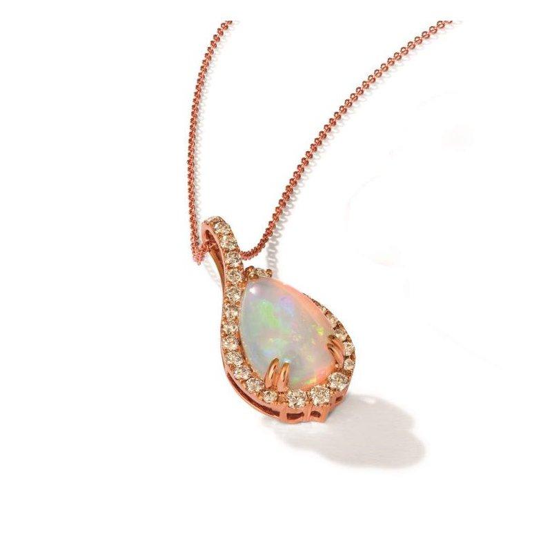 """Le Vian In Stock 14KR Opal & Diamond Pendant w/ 0.60 ct Dia. & 2.25 ct Opal, 18"""" Chain"""