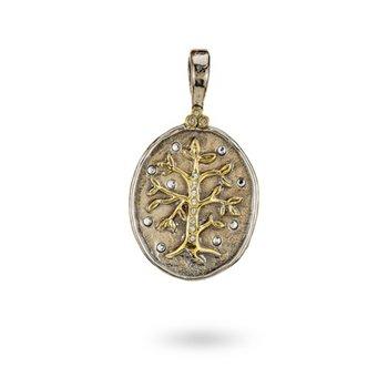 Sterling Silver & Brass Tree of Life Pendant w/ Swarovski Crystals