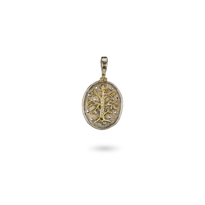Waxing Poetic Sterling Silver & Brass Tree of Life Pendant w/ Swarovski Crystals